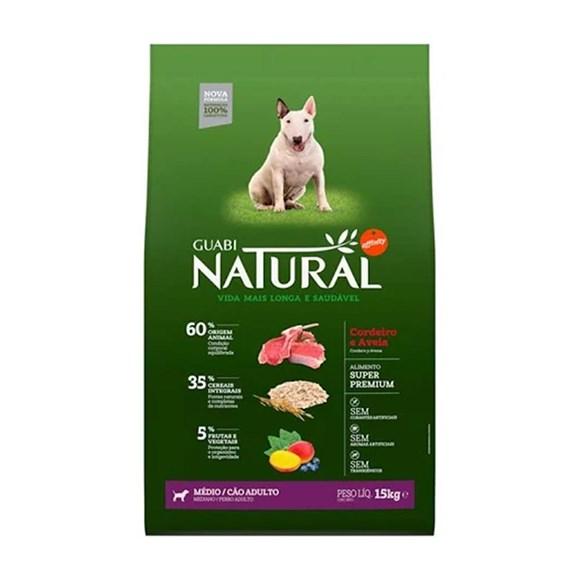 Ração Guabi Natural Cães Adultos Raças Médias Cordeiro e Aveia - 15Kg
