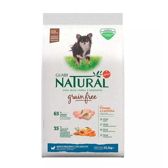 Ração Guabi Natural Cães Grain Free Adultos Raças Mini e Pequenas Frango e Lentilha - 10,1Kg