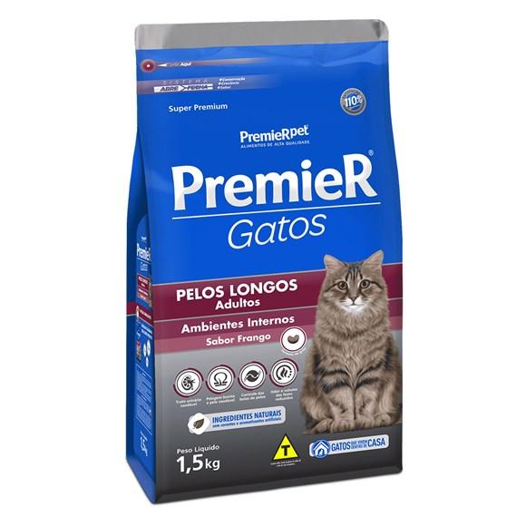 Ração Premier Gatos Adultos Pelos Longos Ambientes Internos Frango