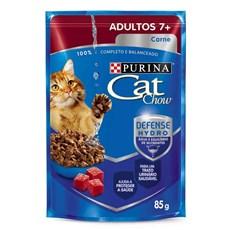 Ração Úmida Cat Chow Sachê Adultos 7+ Carne ao Molho - 85g