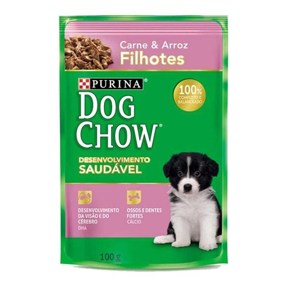 Ração Úmida Dog Chow Sachê Filhote Carne e Arroz - 100g