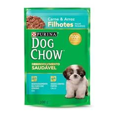 Ração Úmida Dog Chow Sachê Filhotes Carne e Arroz Raças Pequenas - 100g