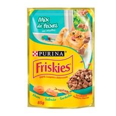 Ração Úmida Friskies Sachê Gatos Adultos Mix de Peixes - 85g