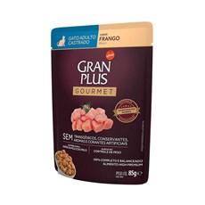 Ração Úmida Gran Plus Sachê Gatos Gourmet Castrados Frango - 85g