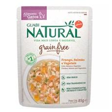 Ração Úmida Guabi Natural Grain Free Sachê Gatos Castrados Salmão e Frango - 85g