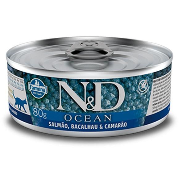 Ração Úmida N&D Gatos Ocean Salmão - 80g