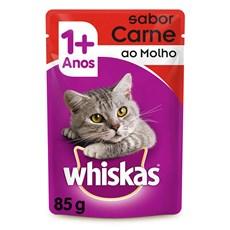 Ração Úmida para Gatos +1 Ano Carne ao Molho 85g Whiskas