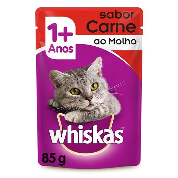 Racao Umida para Gatos +1 Ano Carne ao Molho 85g Whiskas