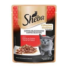 Ração Úmida Sheba Sachê Gatos Filhotes Carne ao Molho - 85g
