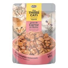 Ração Úmida Three Cats Adultos Sachê Carne ao Molho - 85g