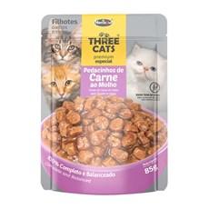 Ração Úmida Three Cats Filhotes Sachê Carne ao Molho - 85g