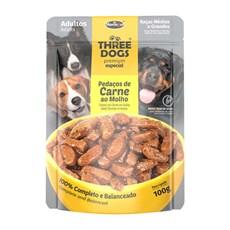 Ração Úmida Three Dogs Adultos Méd. Sachê Carne ao Molho - 100g