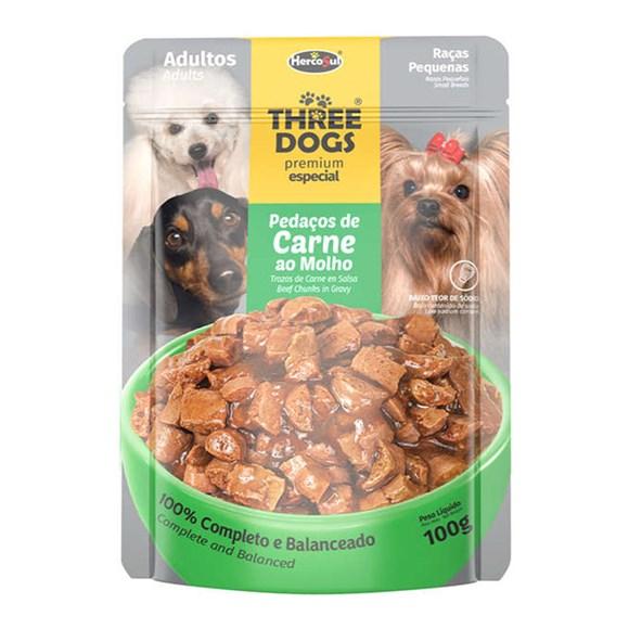 Ração Úmida Three Dogs Adultos Peq. Sachê Carne ao Molho - 100g