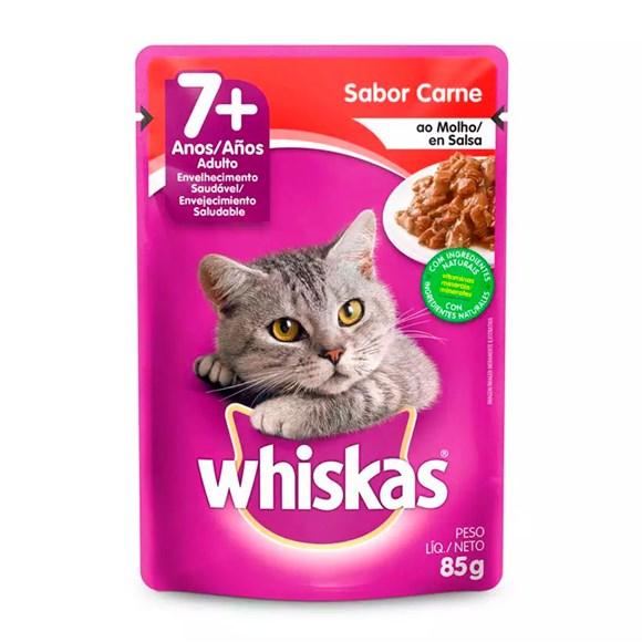 Ração Úmida Whiskas Sachê Gatos Adultos Sênior Carne - 85g