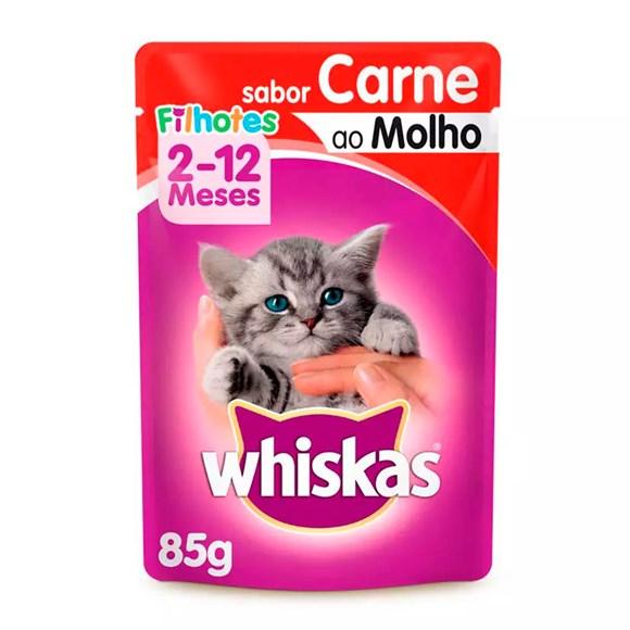 Ração Úmida Whiskas Sachê Gatos Filhotes Carne ao Molho - 85g