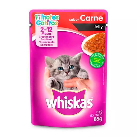 Ração Úmida Whiskas Sachê Gatos Filhotes Carne Jelly - 85g