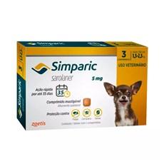 Simparic Antipulgas e Carrapatos Caes 1,3 a 2,5kg c/ 3 Comprimidos