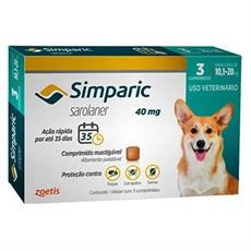 Simparic Antipulgas e Carrapatos Cães 10,1 a 20 Kg c/3 Comprimidos