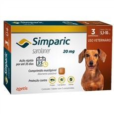 Simparic Antipulgas e Carrapatos Cães 5,1 a 10kg c/3 Comprimidos