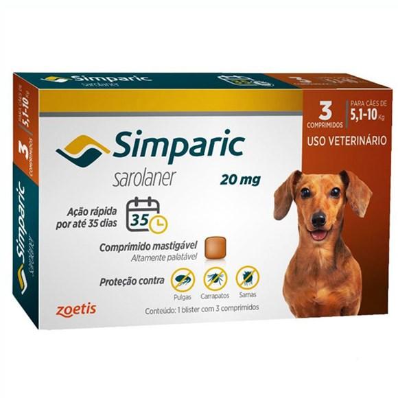 Simparic Antipulgas e Carrapatos Caes 5,1 a 10kg c/3 Comprimidos