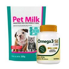 Suplemento Ômega 3+SE 1100 + Suplemento Pet Milk Filhotes 300g Vetnil