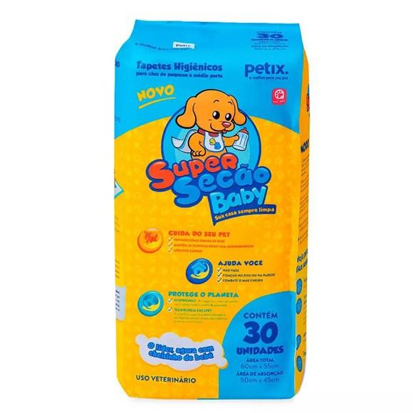 Tapete Higiênico Cães Super Secão Baby Petix C/30 Unidades