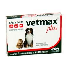 Vermífugo Vetmax Plus Cães e Gatos Vetnil C/4 Comprimidos